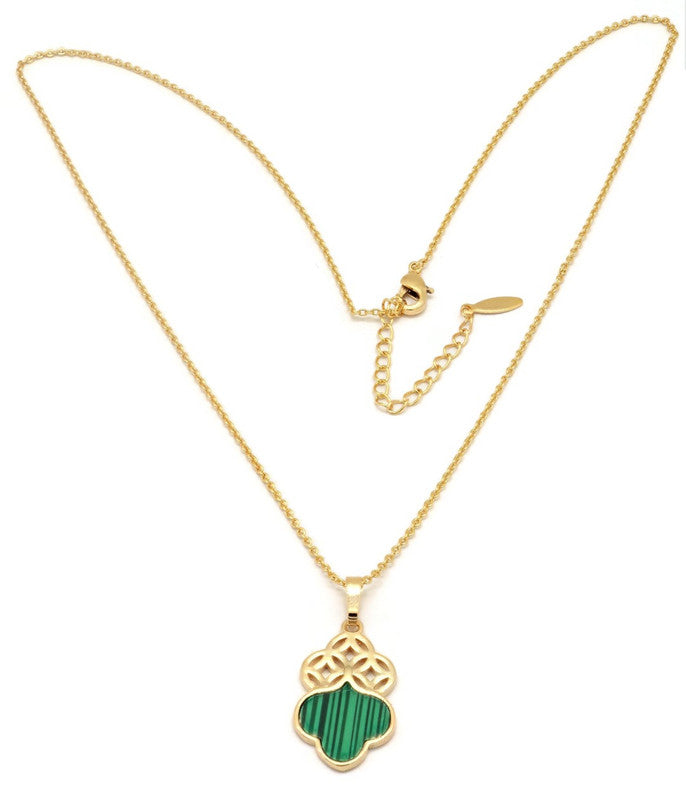 Women's Golden Necklace with  Clover leaf design pendant  Gold plated