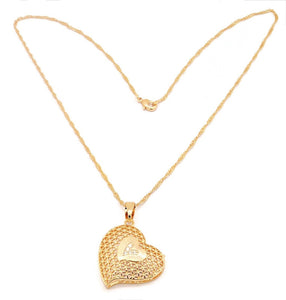 Women's Golden Necklace with  Beautiful cubic stone set Heart design  pendant, Gold plated