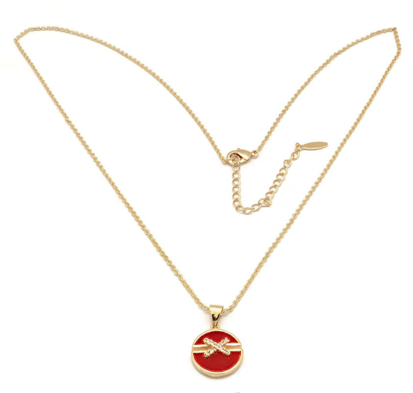 Women's Golden Necklace with cross set brilliant cubic stones on red enamel Pendant, Gold plated