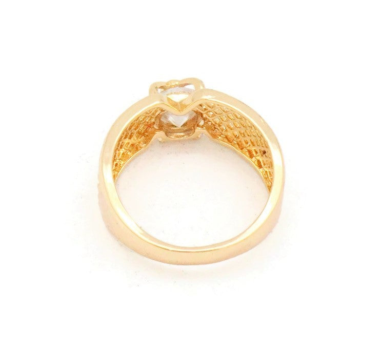 Wedding ring with Zircon stone studded on the mount and criss cross design.Polished 18ct gold coloured.