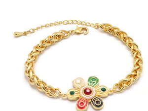 18kt Curb link bracelet, with Flower shaped  charms