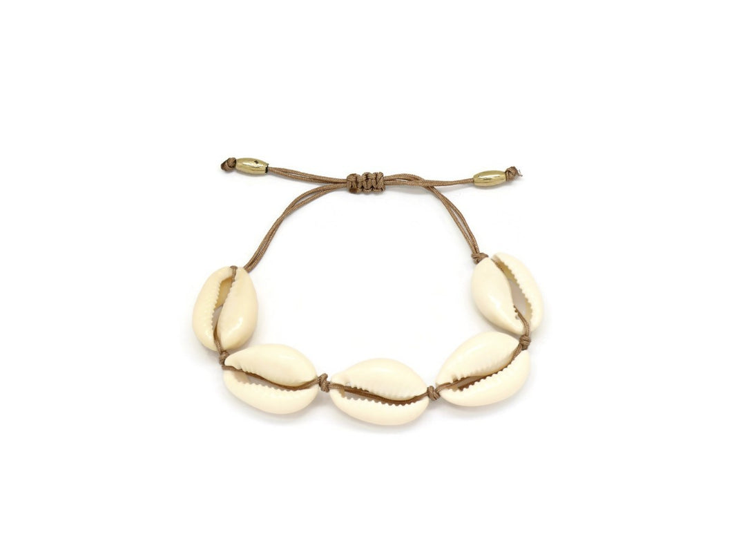 Beach Conch Shell Double Strand Cord Bracelet, Brown