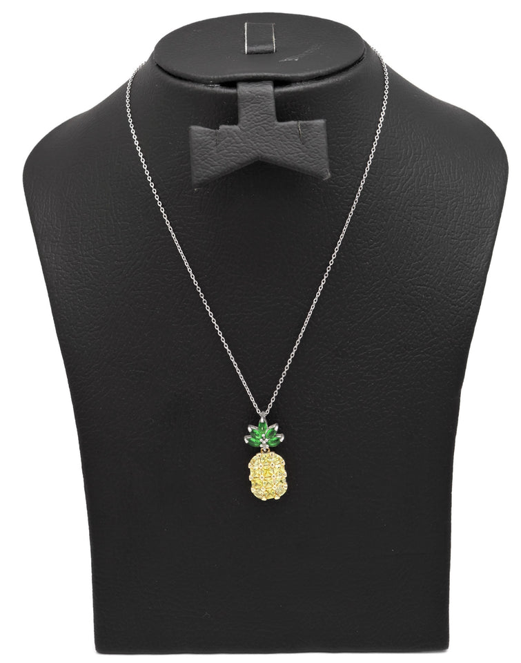 Pineapple Fashion Pendant Necklace   Rhodium plated
