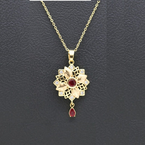18Kt Gold Plated women's fashion Trendy Necklace Beautiful Flower Round Shape With ruby Stone  Zircon Jewelries - Jawaherat