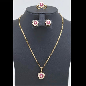 18Kt Gold Plated 2 Pcs Set Women's Fashion Delicate Ruby Color Stone Zircon Jewelries - Jawaherat