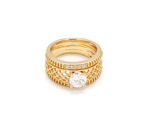 3 18kt Gold plated Stackble  Ring  set