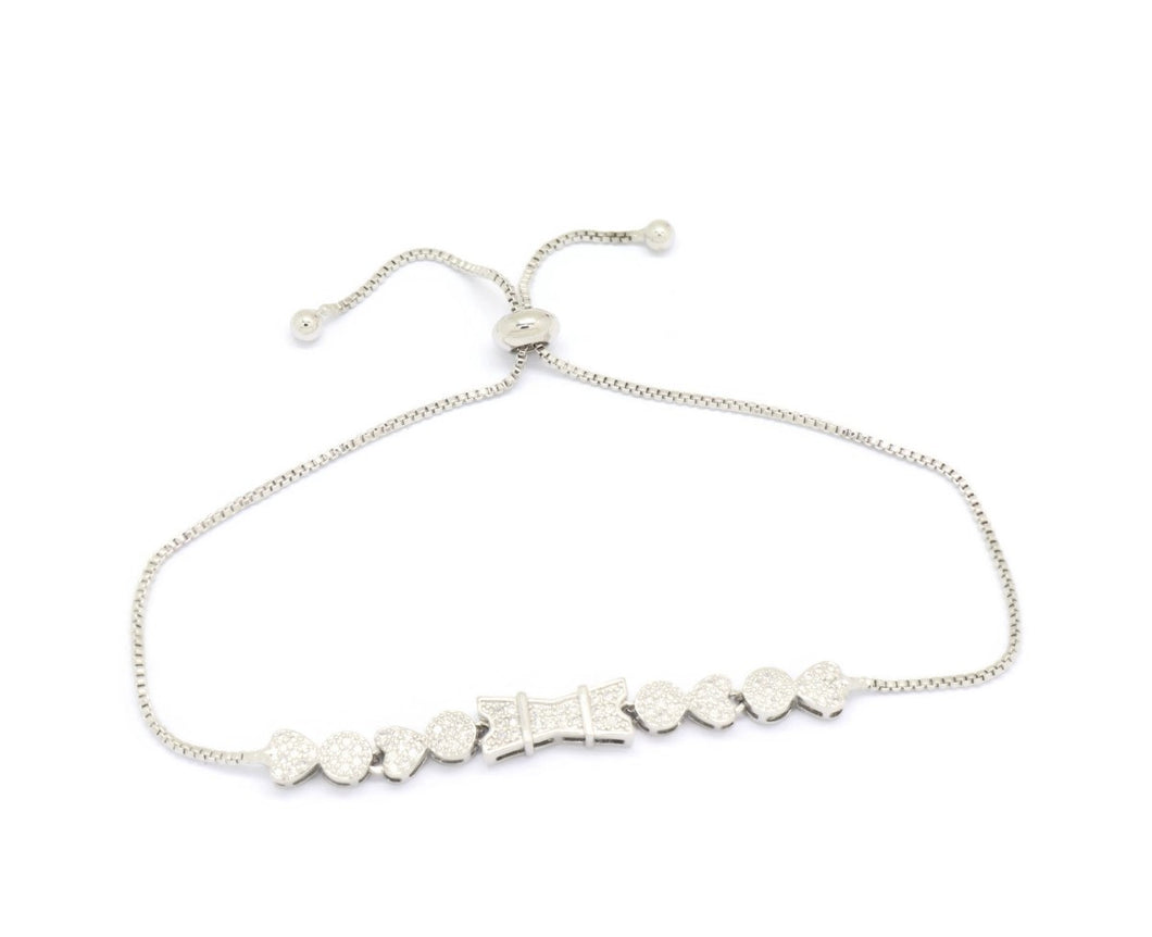 Heart Round Bone Tie Slider Bracelet, White, Silver Plating