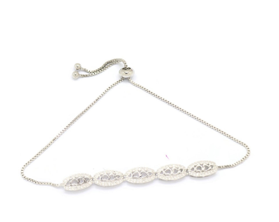 Linear Five Oval Heart Slider Bracelet, White, Silver Plating