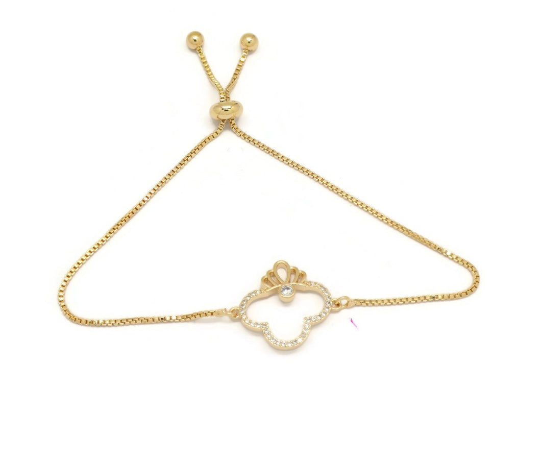 Crown Club Slider Bracelet, White, Gold Plating