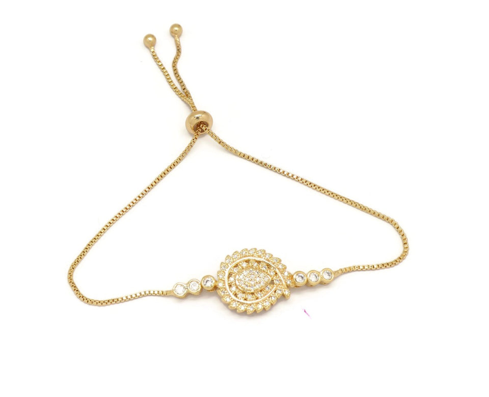 Leaf Branching Teardrop Slider Bracelet, White, Gold Plating