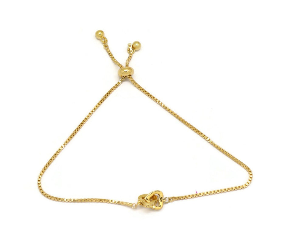 Interlocking Two Hearts Slider Bracelet, Yellow, Gold Plating