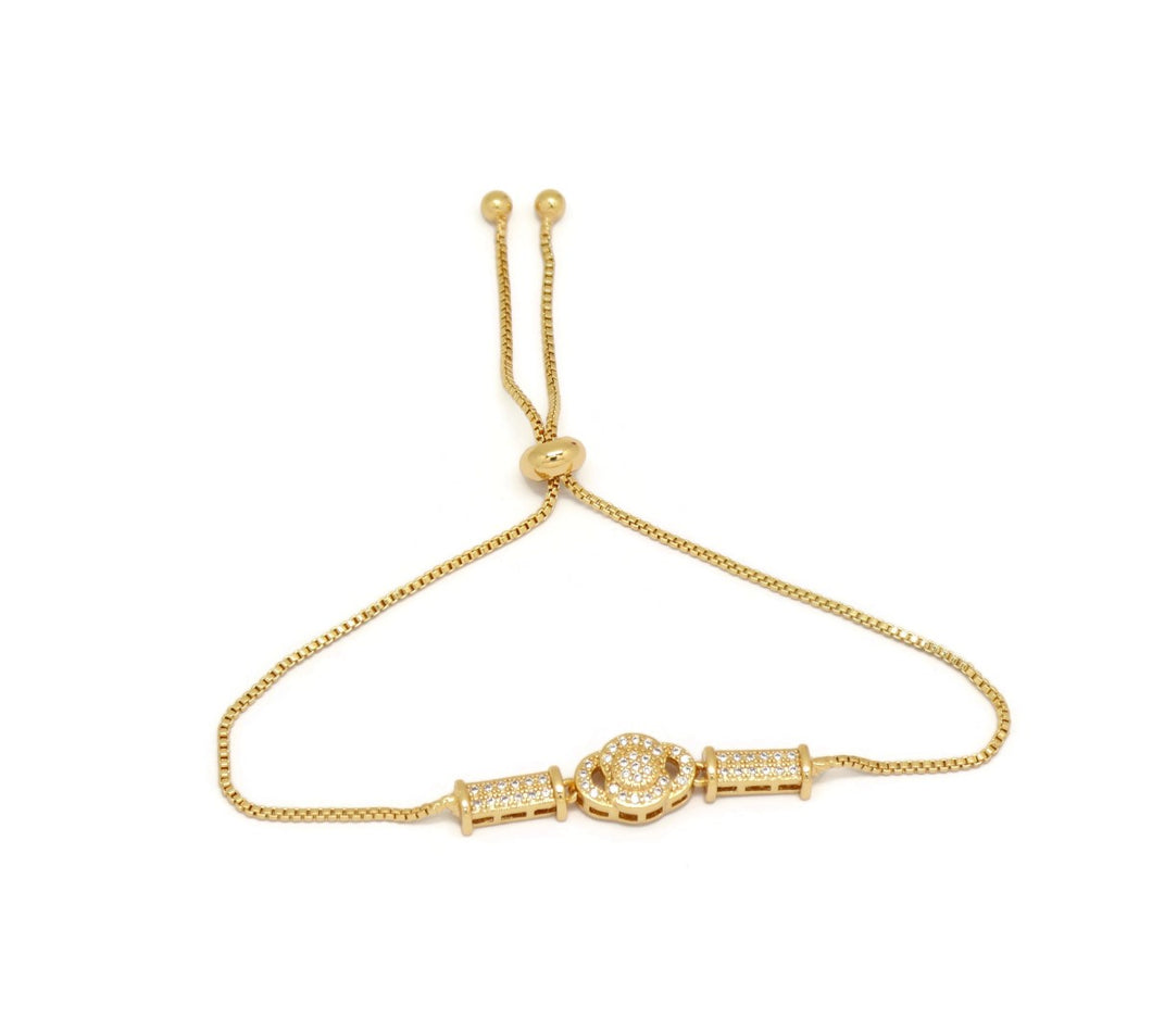 Modern Flower Design Slider Bracelet, White, Gold Plating