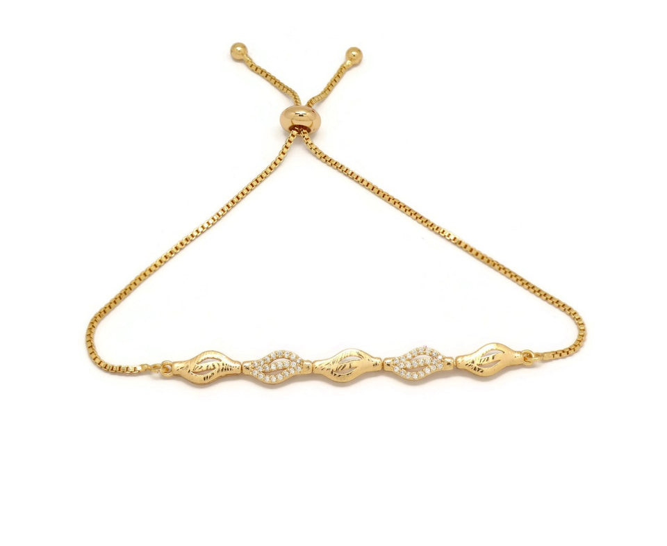 Linear Five Leaf Shape Slider Bracelet, White, Gold Plating