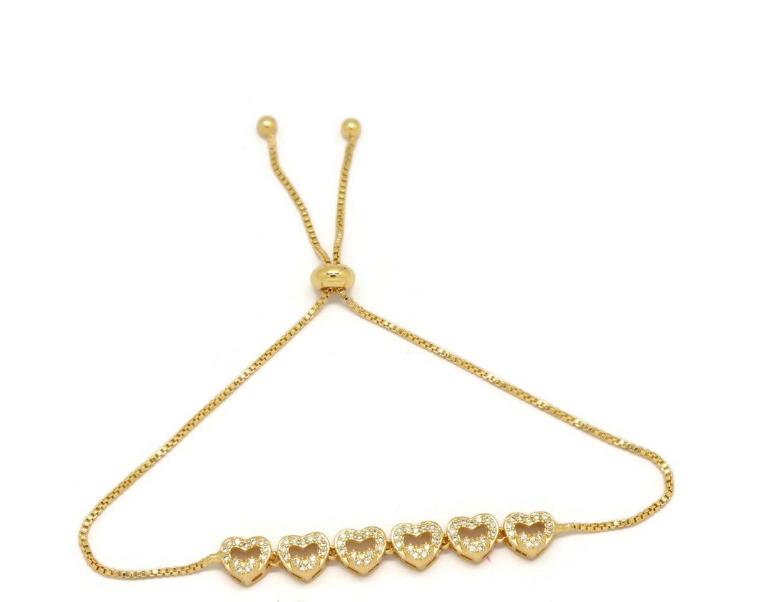 Linear Six Hollow Heart Slider Bracelet, White, Gold Plating