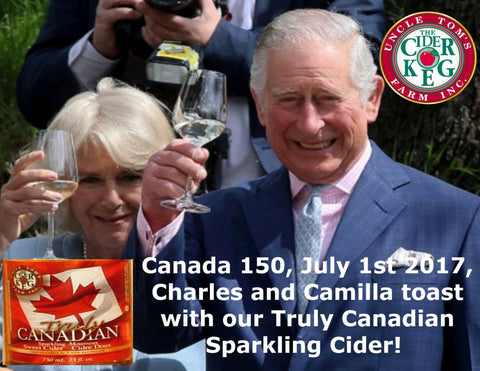 Prince Charles and Camilla toast with our Truly Canadian Sparkling Cider on July First 2017