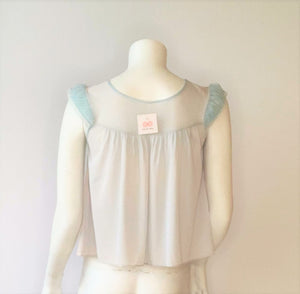 Baby Blue Silk Jersey Babydoll Top