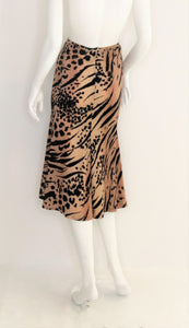 Tiger Print Wool Jersey  Flared Skirt