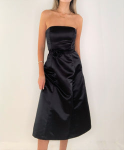 Black Silk Satin Bustier Strapless Dress