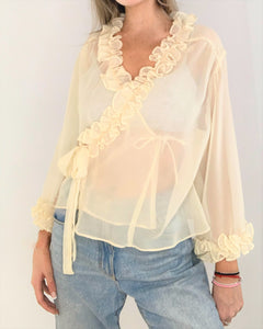 Sheer Cream chiffon ruffled blouse
