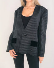 Load image into Gallery viewer, Diagonal Pinstripes Black Blazer