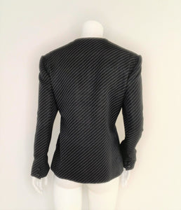 Diagonal Pinstripes Black Blazer