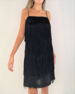 Charleston Black Silk Fringes Dress