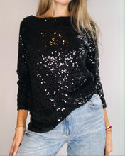 Load image into Gallery viewer, Black Sequin Silk Jersey Loose Shirt