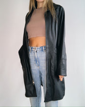 Load image into Gallery viewer, Black Leather Trench Coat