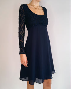 Dark Navy blue Chiffon & Lace Dress