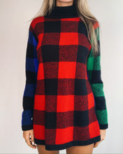 Load image into Gallery viewer, Multicolor Plaid Wool Sweater Dress