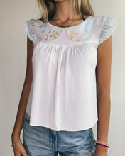 Load image into Gallery viewer, Baby Blue Silk Jersey Babydoll Top