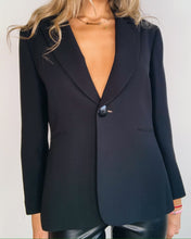 Load image into Gallery viewer, Black Silk Crepe single Button Blazer