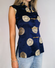 Load image into Gallery viewer, Navy & Gold Silk Brocade SleevelessTop