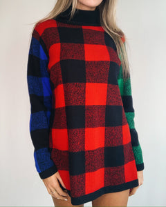 Multicolor Plaid Wool Sweater Dress
