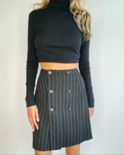 Load image into Gallery viewer, Black Pin Strips Wrap Skirt