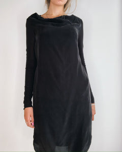 Flat Black Silk Tunic Dress