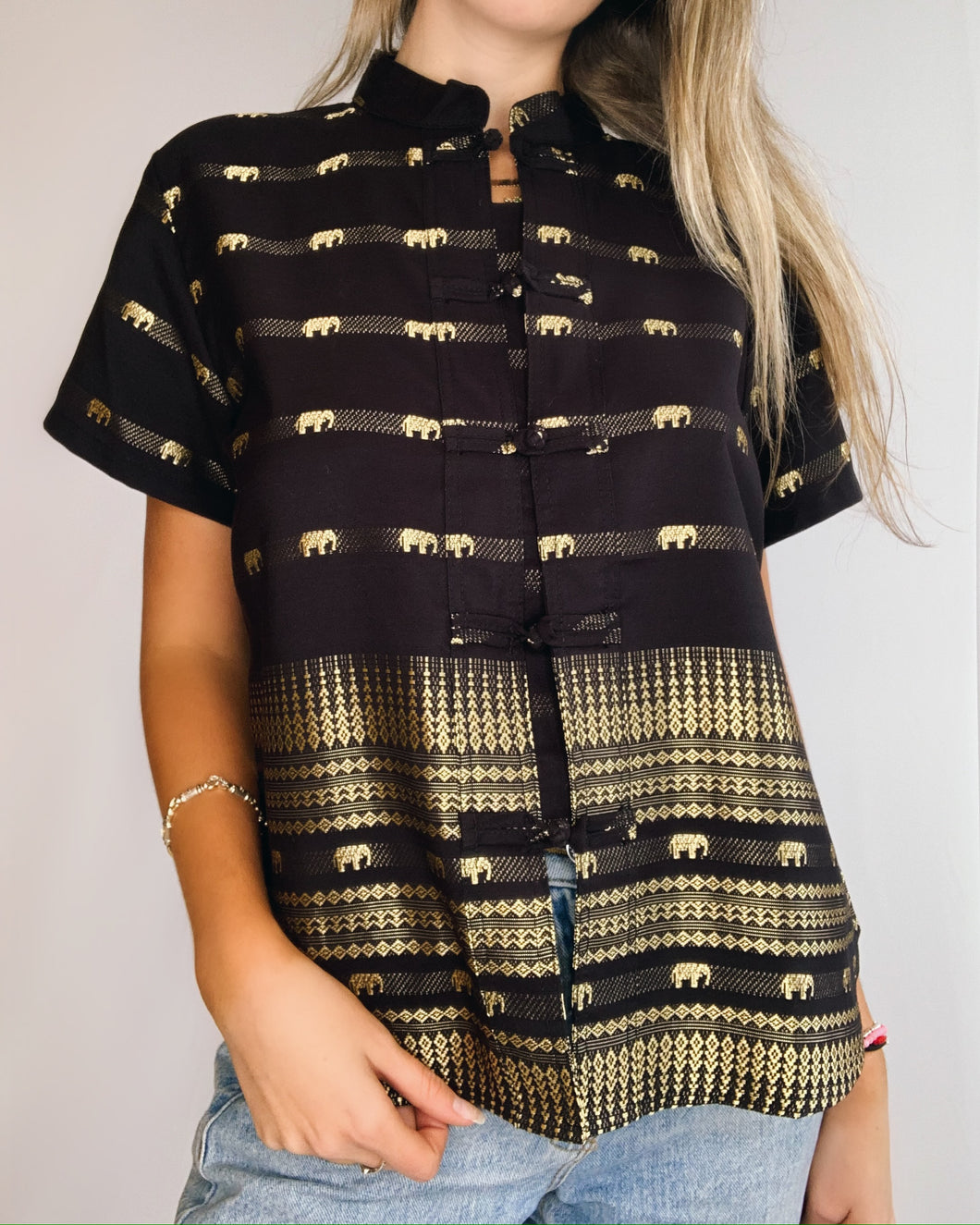 Elephant Print Black & Gold Button Up