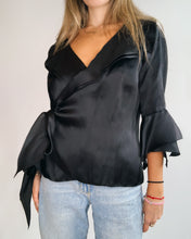 Load image into Gallery viewer, Black Organza Wrap Ruffled Top