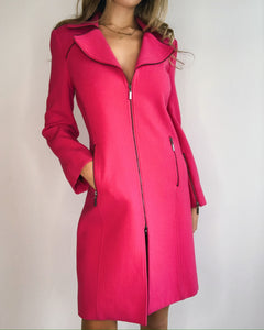 Hot Pink Wool Trench Coat