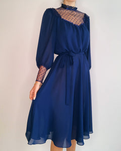 Navy Chiffon Dress