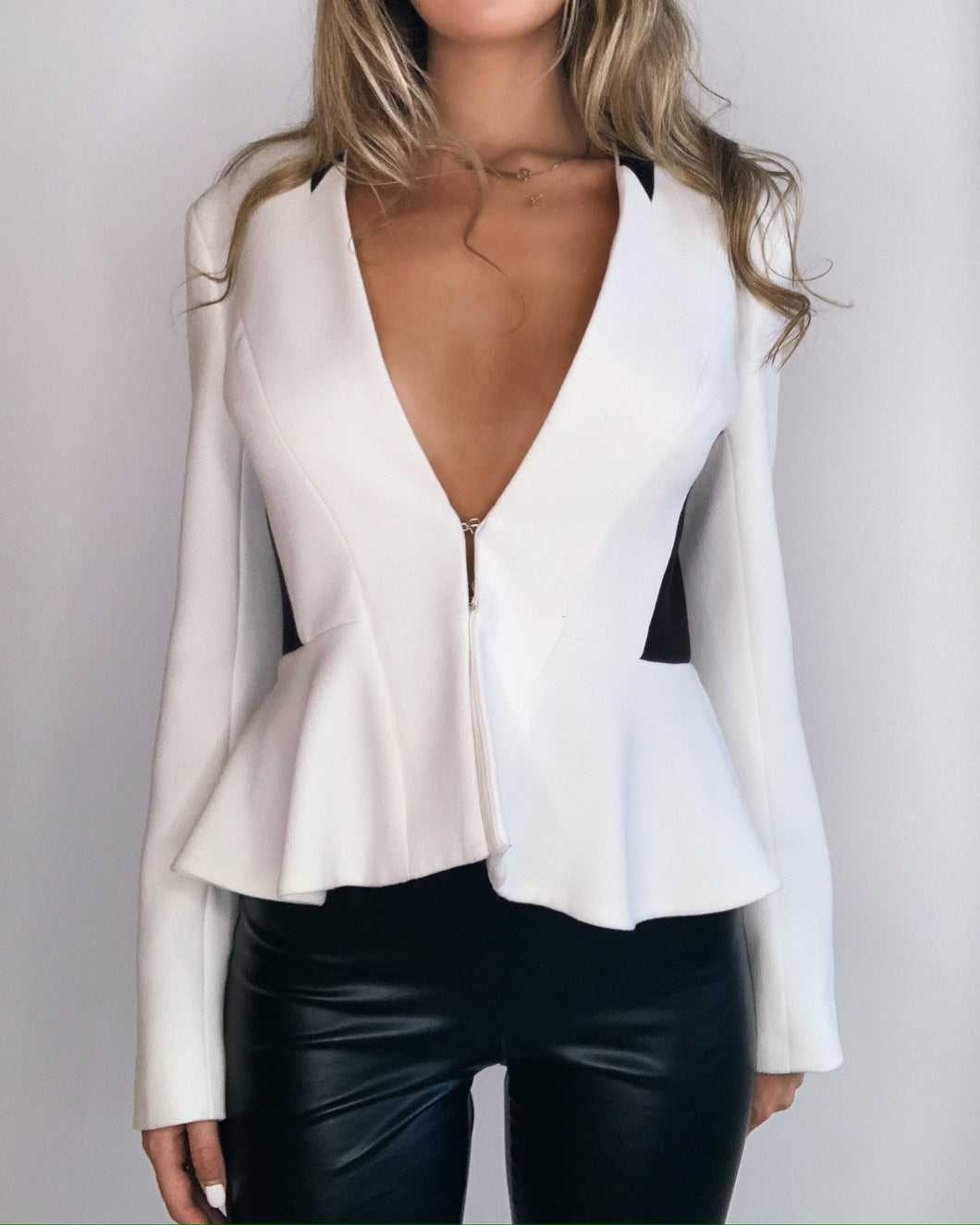 Black & White Color Block Blazer