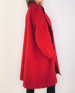 Perfect Red Wool Oversize Cocoon Coat