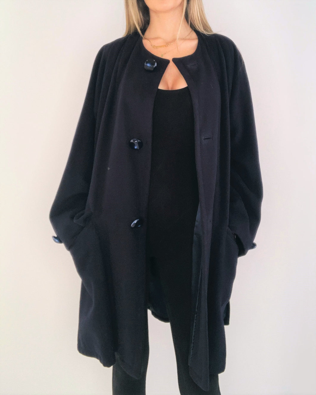 Navy Blue Camel Hair Oversize Coat