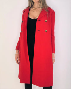 Red Structured Jackie O. Coat