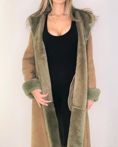 Soft Green Shearling Maxi Coat with Hoodie