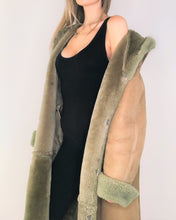 Load image into Gallery viewer, Soft Green Shearling Maxi Coat with Hoodie