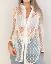 Load image into Gallery viewer, White Polka Dots lace Blouse