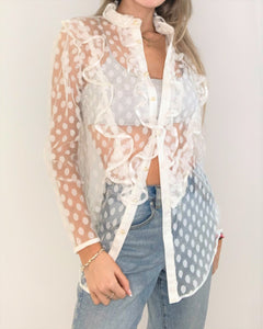White Polka Dots lace Blouse