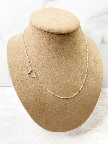 Sideways Heart Necklace: available in silver, gold, and rose gold.