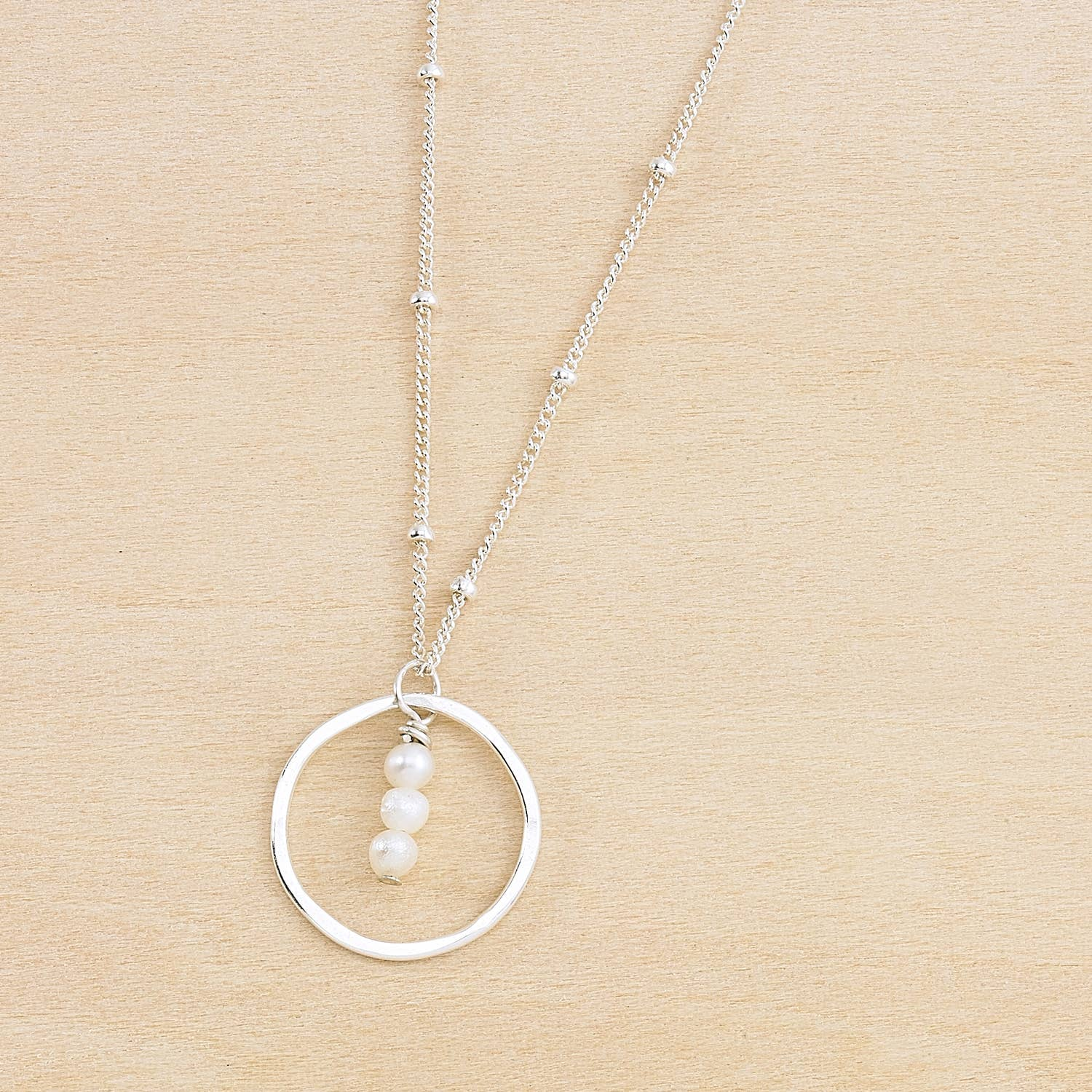 Treble Three Pearls Circle Necklace - Sterling Silver
